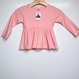 NWT SHISHIFANG Pink Ribbed Long Sleeve Ruffle Top